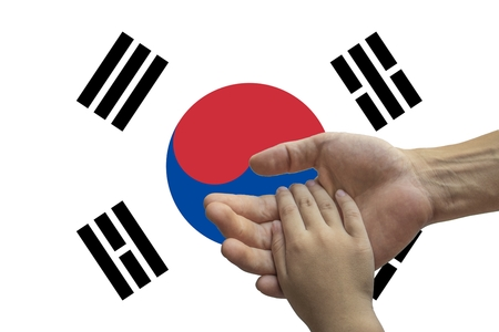 South Korea flag, intergration of a multicultural group of young people.