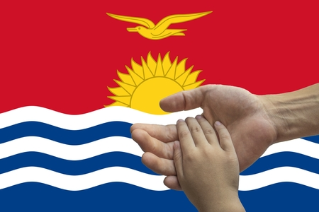 Flag of Kiribati, intergration of a multicultural group of young people.