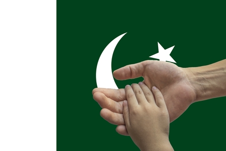 Pakistan flag, intergration of a multicultural group of young people.