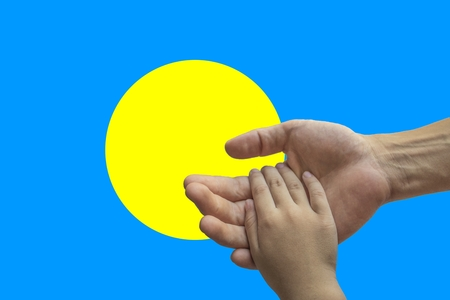 Flag of Palau, intergration of a multicultural group of young people.