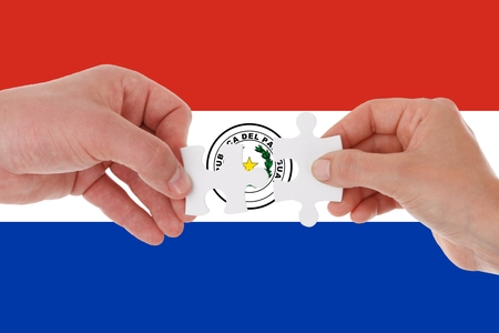 Flag of Paraguay, intergration of a multicultural group of young people.