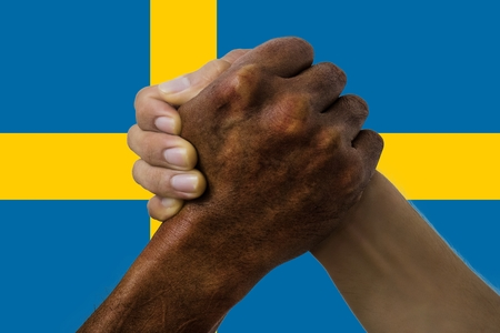 Sweden flag, intergration of a multicultural group of young people. Stockfoto - 125359827