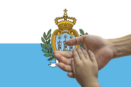 San Marino flag, intergration of a multicultural group of young people.