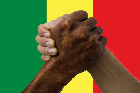 Flag of Senegal, intergration of a multicultural group of young people.