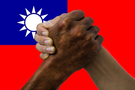 taiwan flag, intergration of a multicultural group of young .