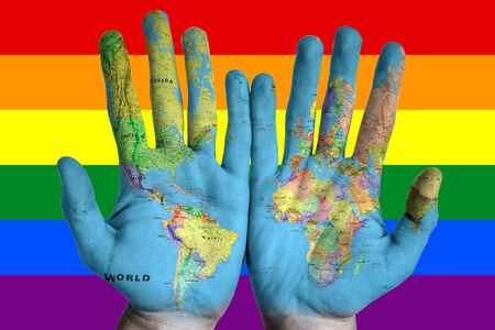 Rainbow flag pattern with hands for LGBT pride for day of memory and transgender.