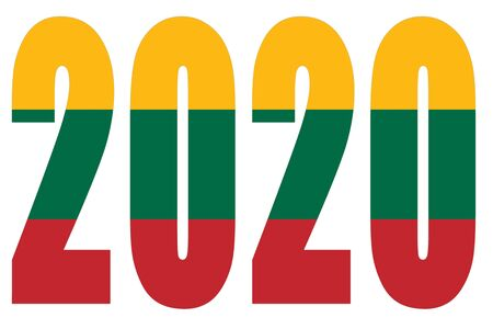 Isolated banners numeral for the year 2020 with a white background, happy new year Standard-Bild - 130812951