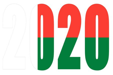 Isolated banners numeral for the year 2020 with a white background, happy new year Standard-Bild - 130812955
