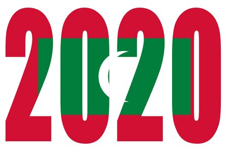 Isolated banners numeral for the year 2020 with a white background, happy new year