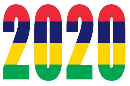 Isolated banners numeral for the year 2020 with a white background, happy new year Standard-Bild - 130812960