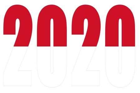 Isolated banners numeral for the year 2020 with a white background, happy new year Standard-Bild - 130812965