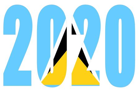 Isolated banners numeral for the year 2020 with a white background, happy new year Standard-Bild - 130812984