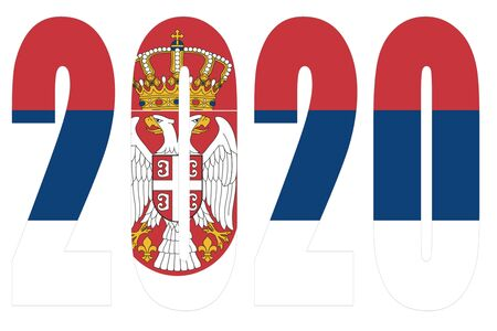 Isolated banners numeral for the year 2020 with a white background, happy new year Standard-Bild - 130812926