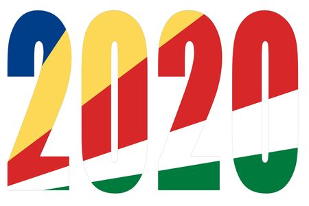 Isolated banners numeral for the year 2020 with a white background, happy new year Standard-Bild - 130812929