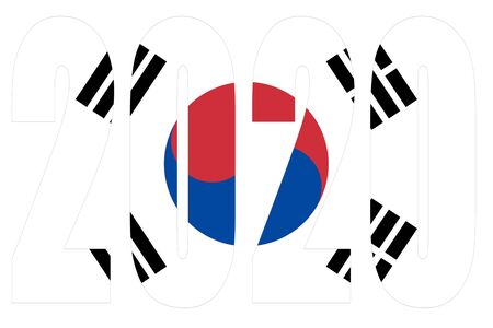 Isolated banners numeral for the year 2020 with a white background, happy new year Standard-Bild - 130812940
