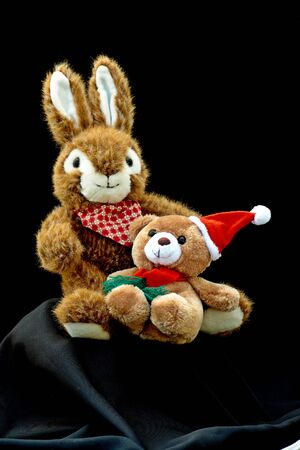 Two plush easter bunnies in front of an isolated black background.