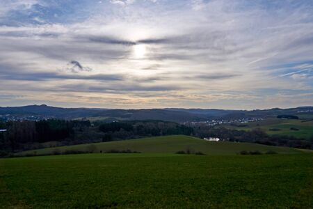 photo of a hilly landscape in january from gerolstein germany-eifel Stock Photo