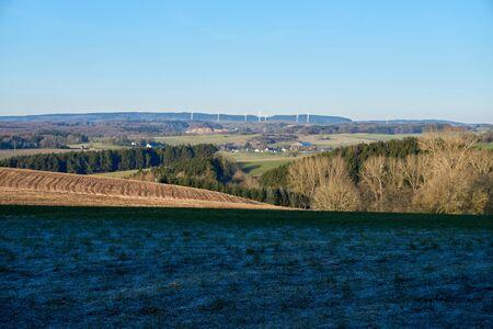 Frosty green Eifel landscape photographed in January.