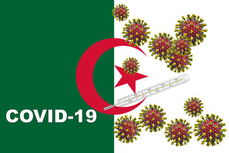 Corona virus, covid-19 with clinical thermometer on a Algeria flag