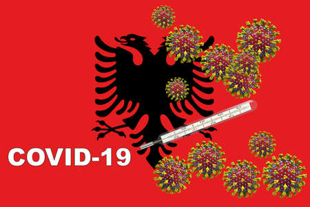 Corona virus, covid-19 with clinical thermometer on a Albania flag