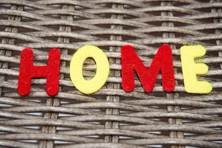 The word home is made of felt.