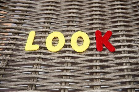 The word look is made of felt.