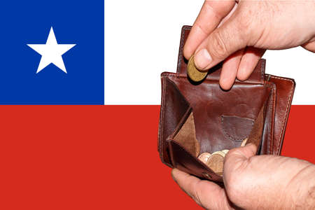 empty wallet shows the global financial economic crisis triggered by the corona virus in Chile