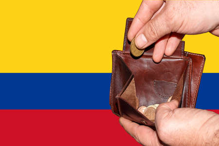 empty wallet shows the global financial economic crisis triggered by the corona virus in Colombia