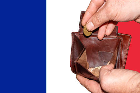 empty wallet shows the global financial economic crisis triggered by the corona virus in France