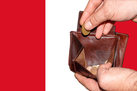 empty wallet shows the global financial economic crisis triggered by the corona virus in Peru