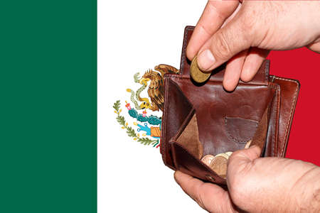 empty wallet shows the global financial economic crisis triggered by the corona virus in Mexico