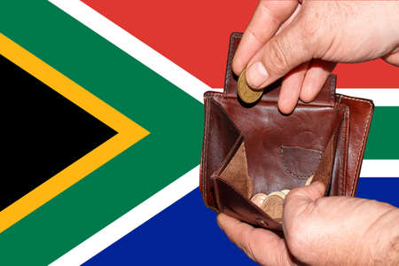 empty wallet shows the global financial economic crisis triggered by the corona virus in South Africa