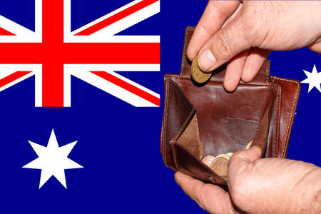 empty wallet shows the global financial economic crisis triggered by the corona virus in Australia.