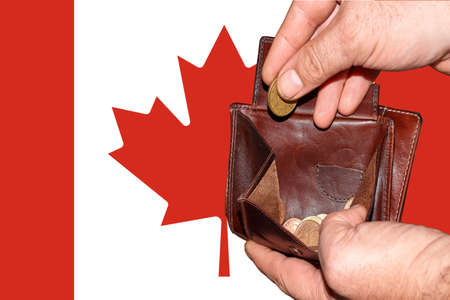empty wallet shows the global financial economic crisis triggered by the corona virus in Canada.