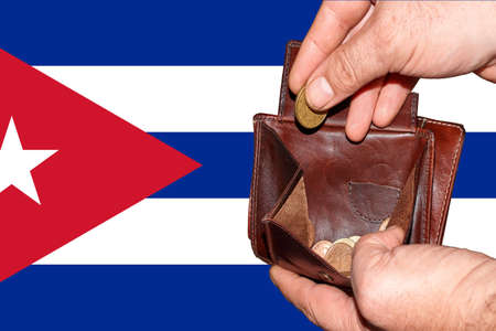 empty wallet shows the global financial economic crisis triggered by the corona virus in Cuba.