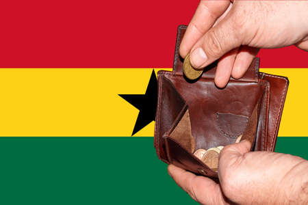 empty wallet shows the global financial economic crisis triggered by the corona virus in Ghana.