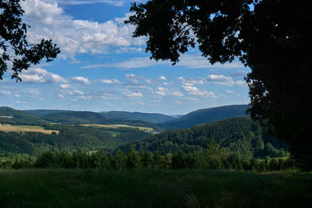 A panoramic photo of the landscape in the Vulkaneifel, Germany