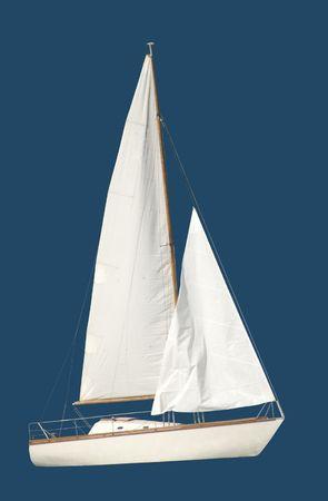 White yacht isolated over blue background photo