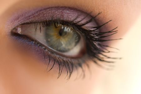 beautiful woman`s open colorful eye Standard-Bild