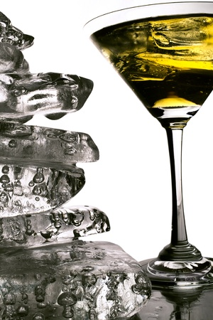 shaken: A glass of martini with a pile of clear ice