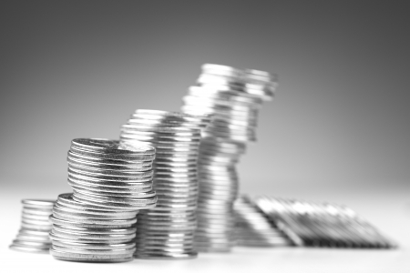 coin silver: Stacks of coins