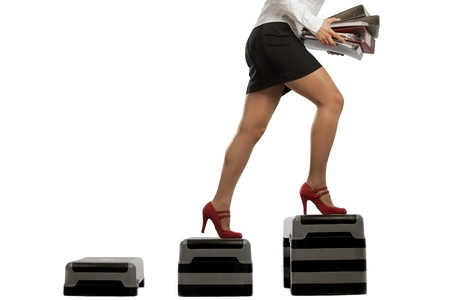 hurry up: Businesswoman running up on stepps with folder documents  Running on the career ladder  Stock Photo
