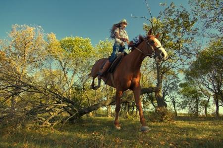 caballo saltando: Imagen de la muchacha hermosa con el caballo de pura raza, que salta un obstáculo en el bosque