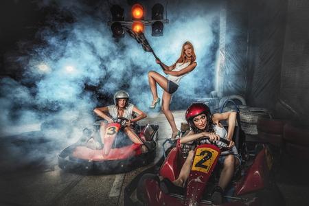 Girls have fun on Karting