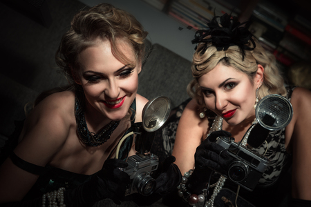 Women have fun on bachelorette party Stock Photo