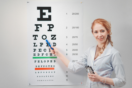 Optisch. Arzt - Augenarzt zeigt Sehtest