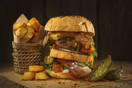 Burgers with beef Stock Photo