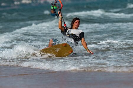 Kitesurfing, Kiteboarding action photo