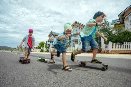 Boys on longboard skates