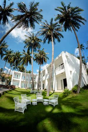 Tropical cafe under palm trees. Luxury resort in Vietnam. Standard-Bild - 157067356